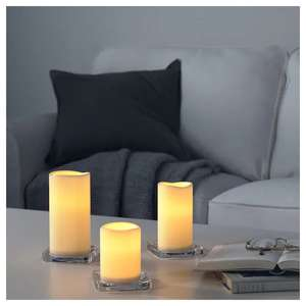 IKEA: GODAFTON Blockkerze LED innen/außen 3er-Set