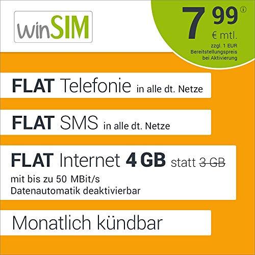 [Amazon] winSIM LTE 3 GB+1GB Allnet Flat für mtl 7,99€ + 1€ Aktivierungsgebühr -monatl. kündbar