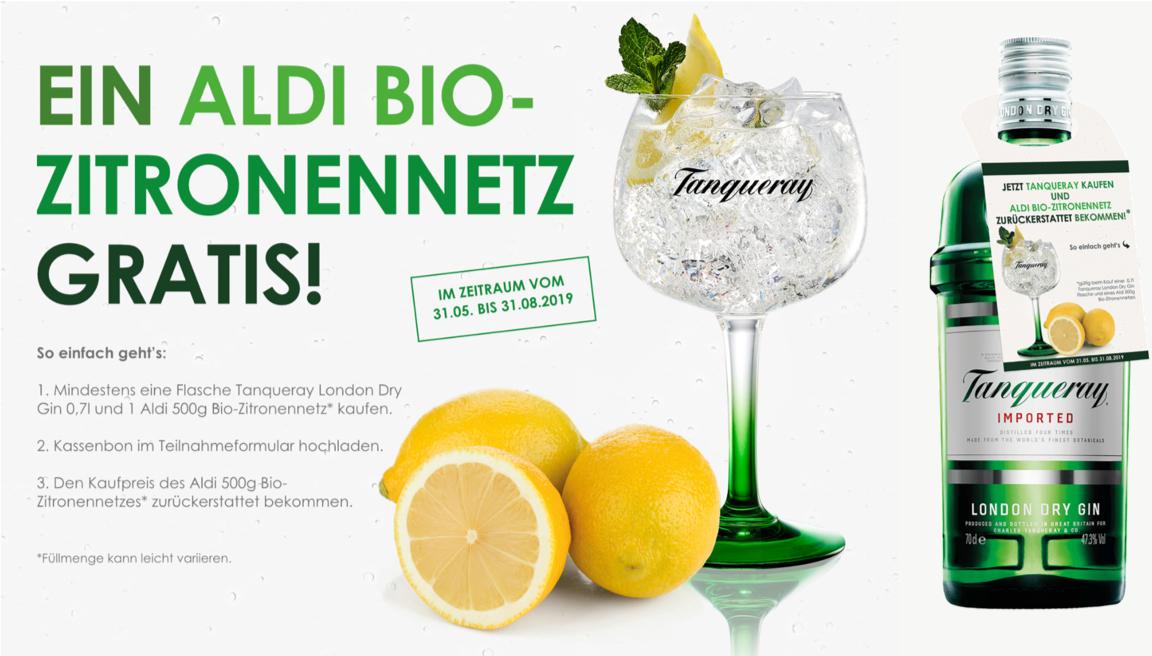 [Aldi Nord & Süd] Tanqueray London Dry Gin (0,7l) für 14,99€  + 1x 500g Bio-Zitronennetz durch CashBack kostenlos (mit MarktGuru 13,49€)
