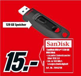 [Regional Mediamarkt Berlin/Brandenburg-Alle 19 Filialen ab 23.05] SanDisk Ultra USB3.0 128 GB (USB Stick) für 15,-€