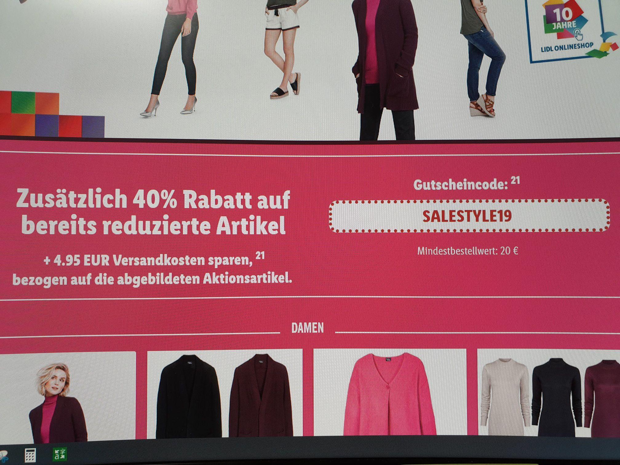 LIDL 40% + VERSANDKOSTENFREI AB 20 € bei Sales Style