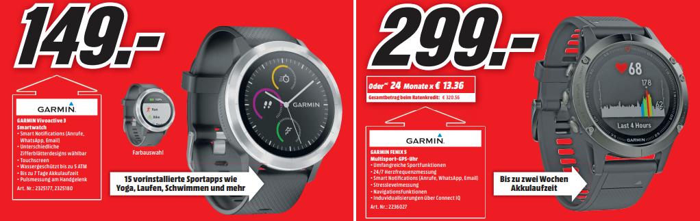 Garmin Vivoactive 3 und Garmin Fenix 5 für EUR 149 bzw. 299 im MediaMarkt Gütersloh