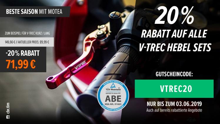 Motea: 20% auf V-Trec Brems- Kupplungshebel Set