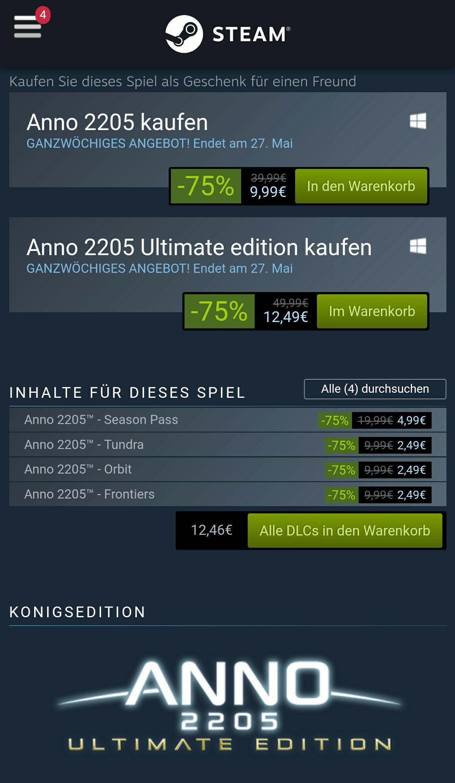 Anno 2205 Steam Version: Standard 9,99; Ultimate Edition(Königsedition)12,49