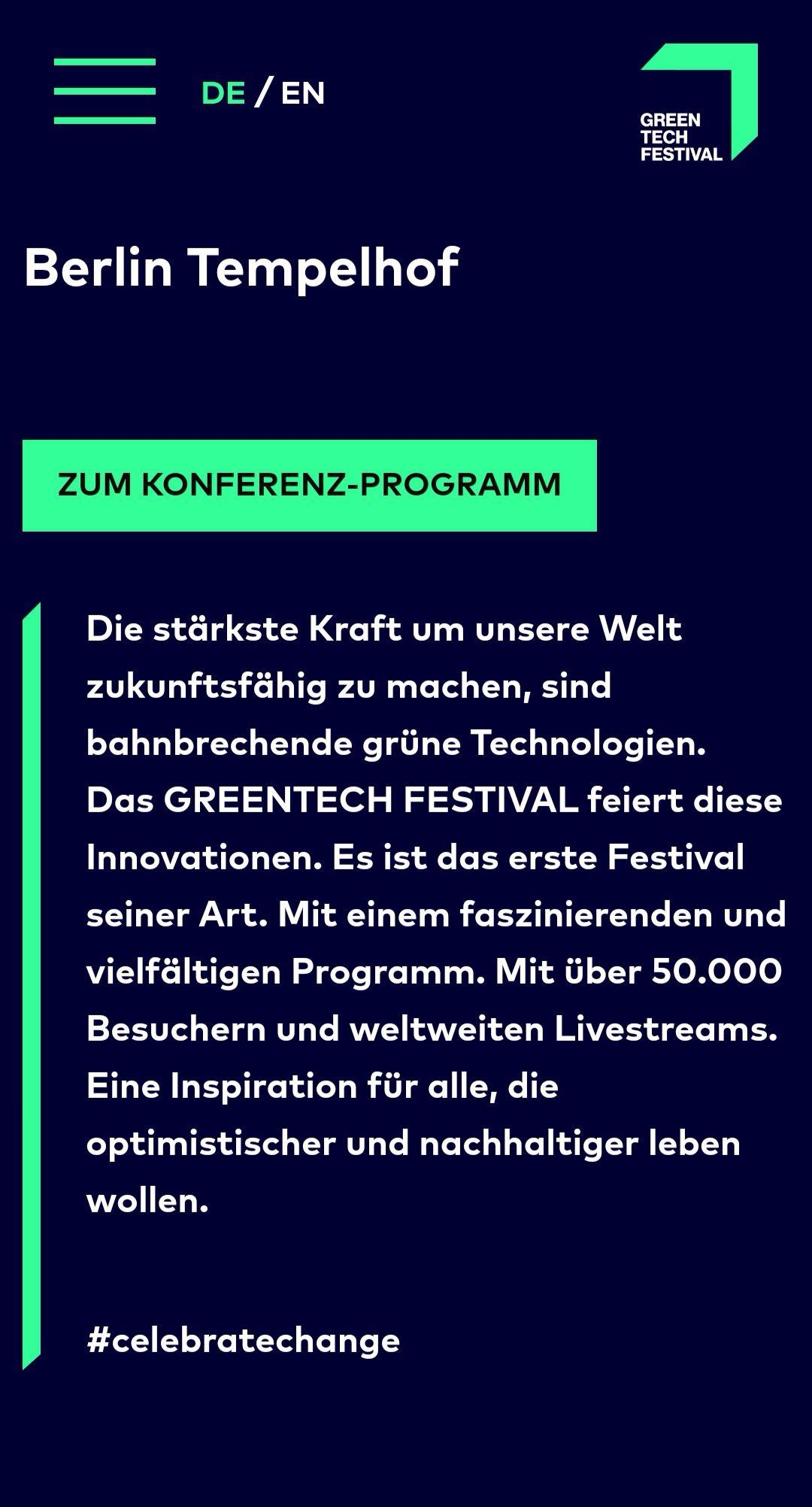 Green Tech Festival - BERLIN - Freitags Ticket GRATIS