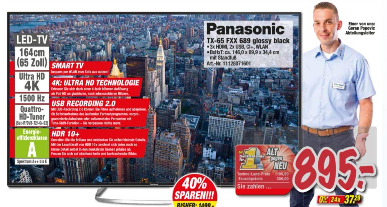 "(Lokal) PANASONIC TX-65FXX689 4K Ultra HD TV (65"", Smart TV, HDR, WLAN, Aufnahmefunktion, Quattro-Tuner, DVB-C/S2/T2 HD, 3xHDMI, 2xUSB, CI+-"