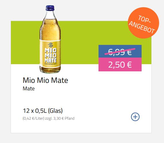 [Flaschenpost] Mio Mio Mate (12x0,5l) im Top-Angebot AB 2,50€ [Lokal: Essen, Bremen, Hannover, Hamburg, Mannheim, ggf. weitere Städte]