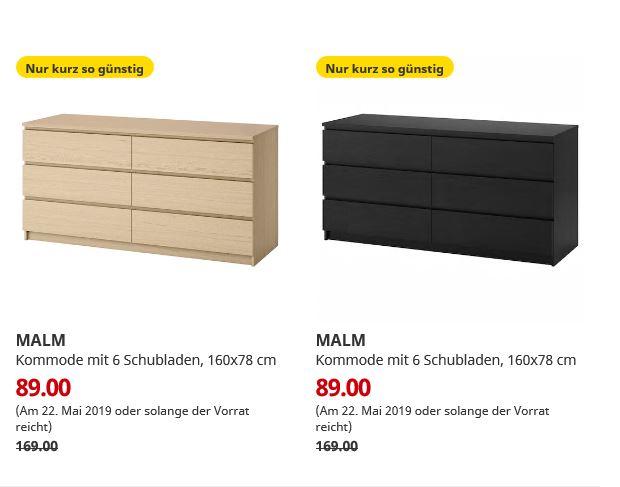 (IKEA Bremerhaven 22.05.) MALM Kommode mit 6 Schubladen eichenfurnier / schwarzbraun 160x78 cm