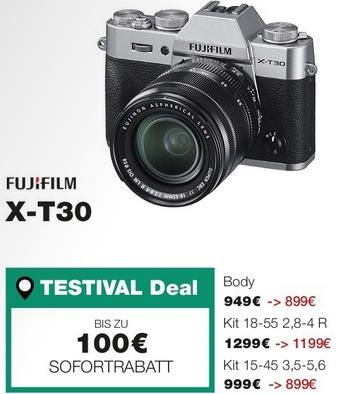 [Lokal: Bochum am 01.06] Fujifilm X-T30 Systemkamera + XC15-45mm Objektiv Kit Schwarz / Silber