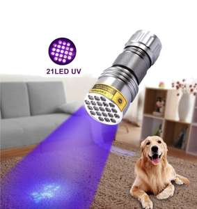 XANES U03 21LEDs 400nm Violet UV LED Flashlight Fluorescence Sterilization Banknote Detection Pen Black