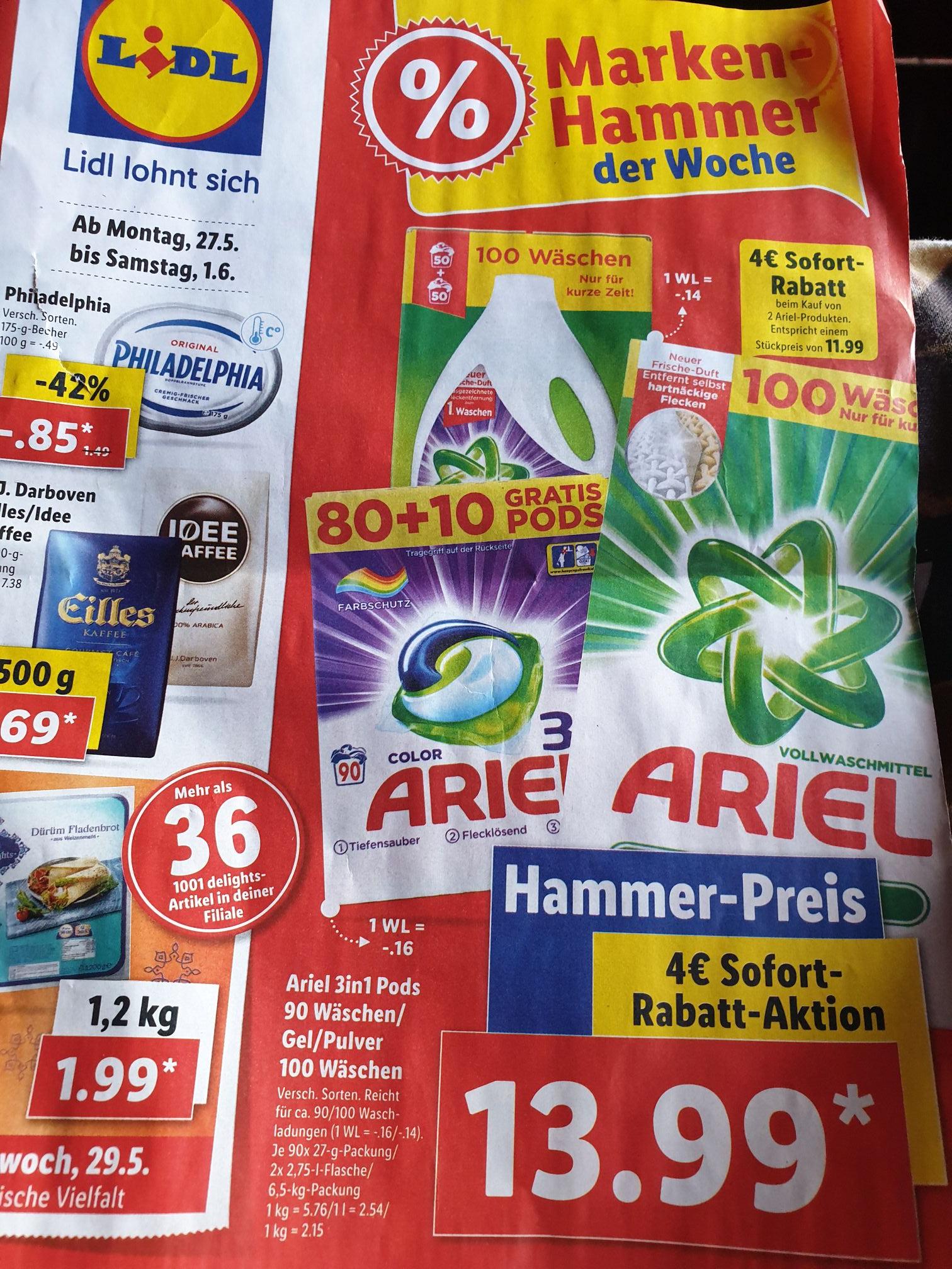 Ariel Waschmittel  3 in 1 Pods, Gel + Pulver beim Kauf von 2 Einzelpreis 11,99€ (4€ Sofortrabatt) ab Montag bei Lidl