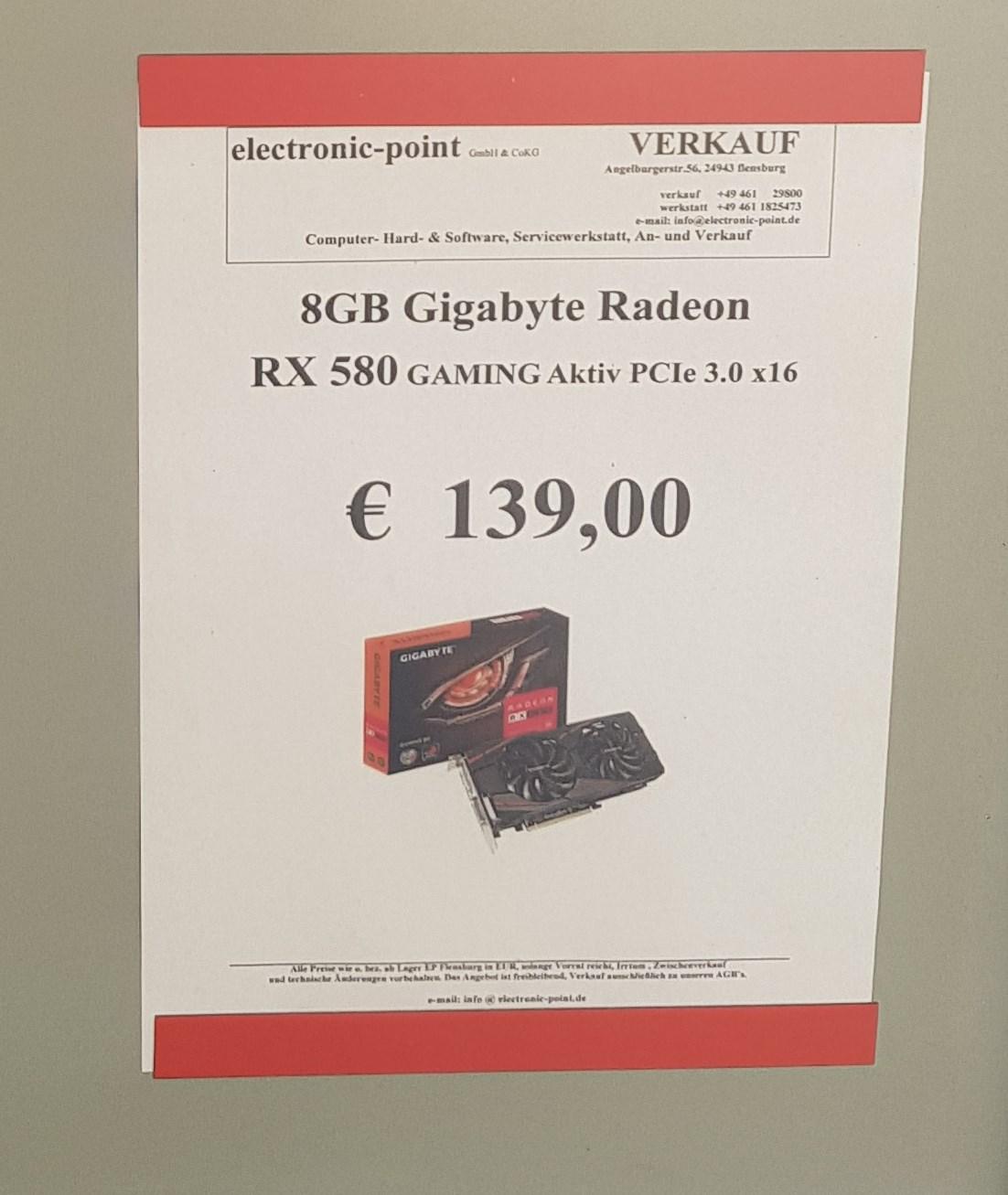 [LOKAL Flensburg electronic-point] 8GB Gigabyte Radeon RX 580 GAMING Aktiv
