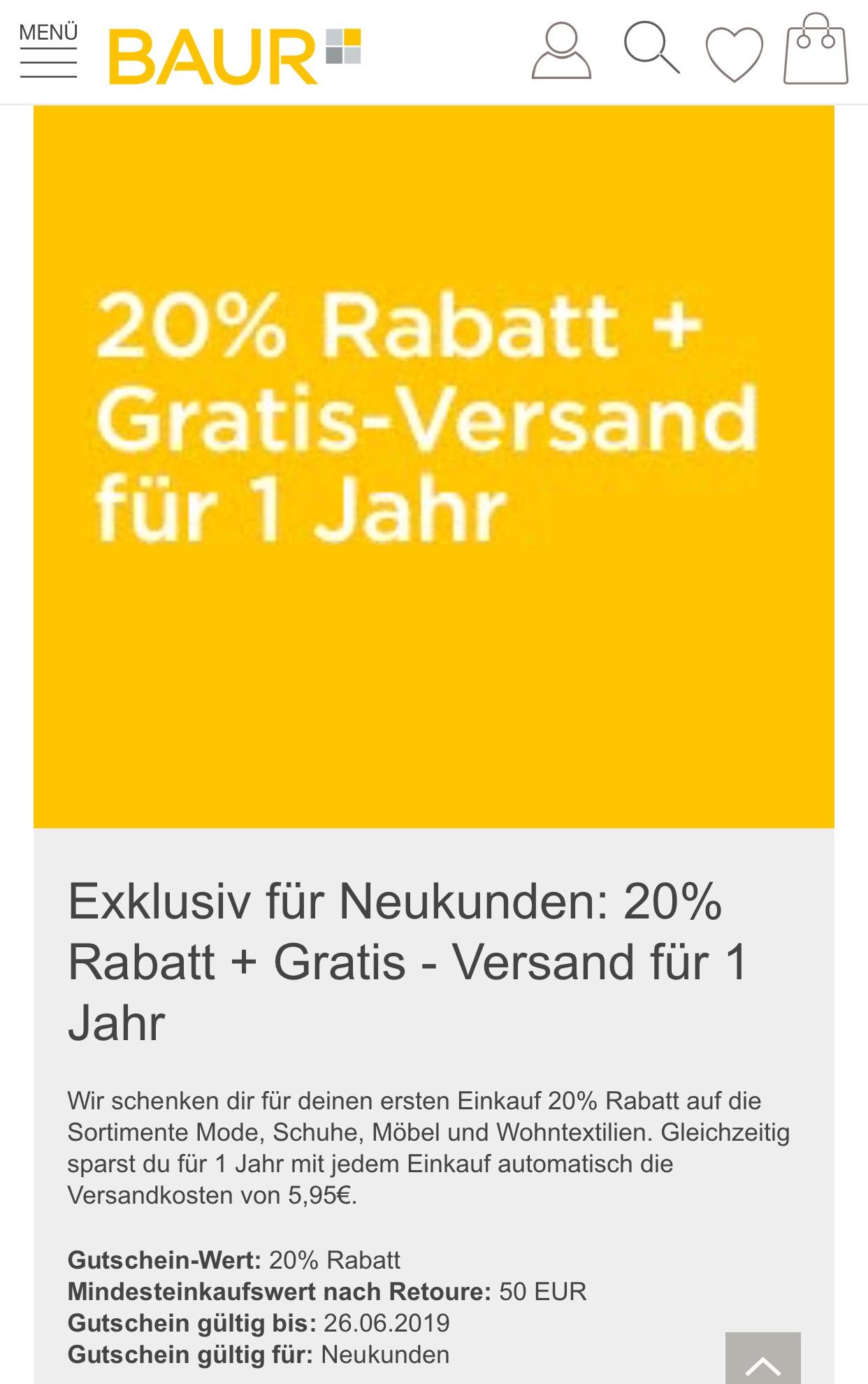 Baur.de gibt 20% Rabatt für Neukunden
