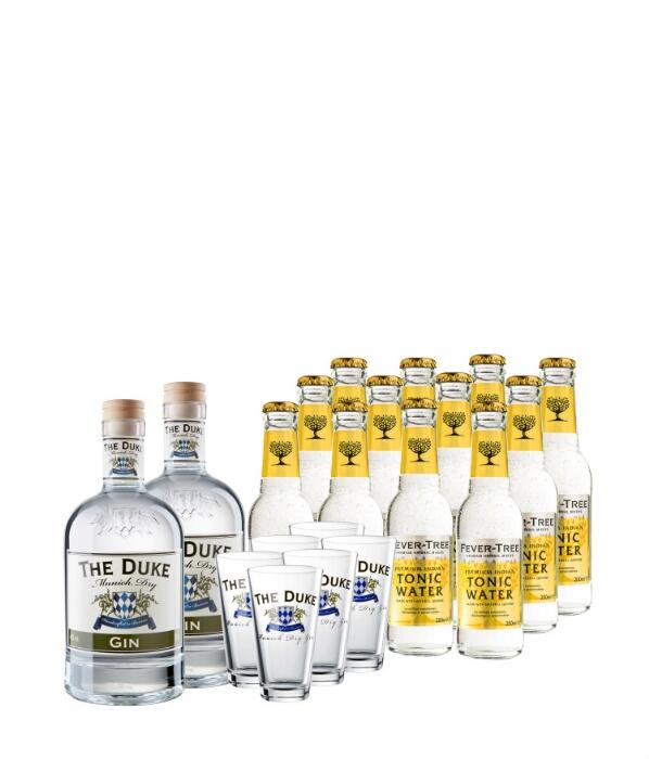 2 Flaschen The Duke Munich Gin + 12 Fever Tree + 6 Longdrinkgläser für 77,90€ - keine VSK + evtl. 10% b. Newsletteranmeldung bei gourmondo
