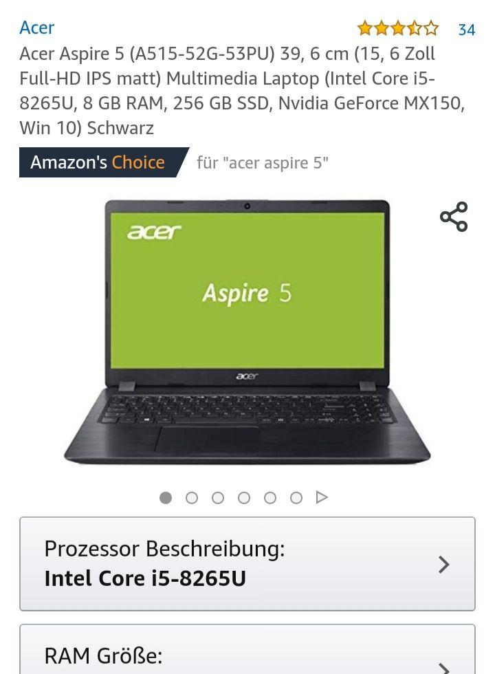 Acer Aspire 5  (i5 8265U, 8GB RAM, 256GB SSD,  Nvidia MX150, WIN 10)