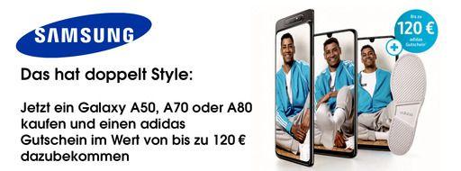 Samsung Galaxy Aktion: Adidas Gutschein zur A-Reihe (50€ für A50, 80€ für A70, 120€ für A80)