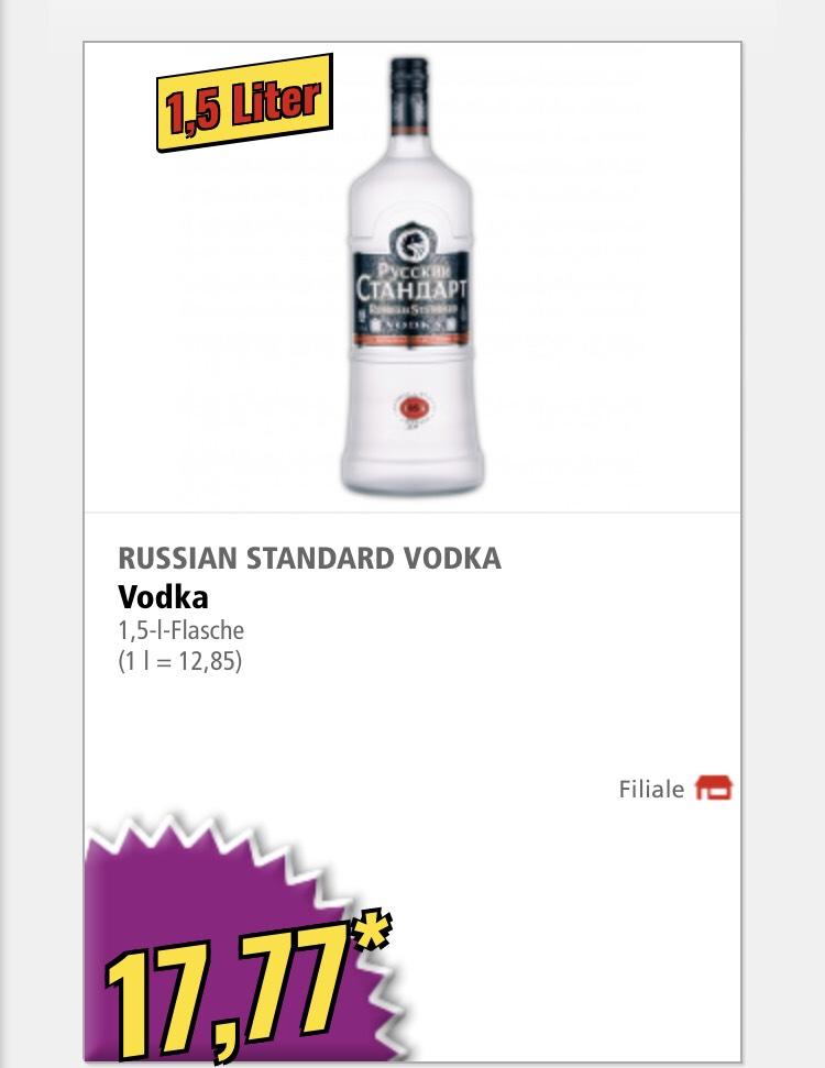 Russian Standard Vodka 1,5 Liter bei NORMA oder Milka Großtafel