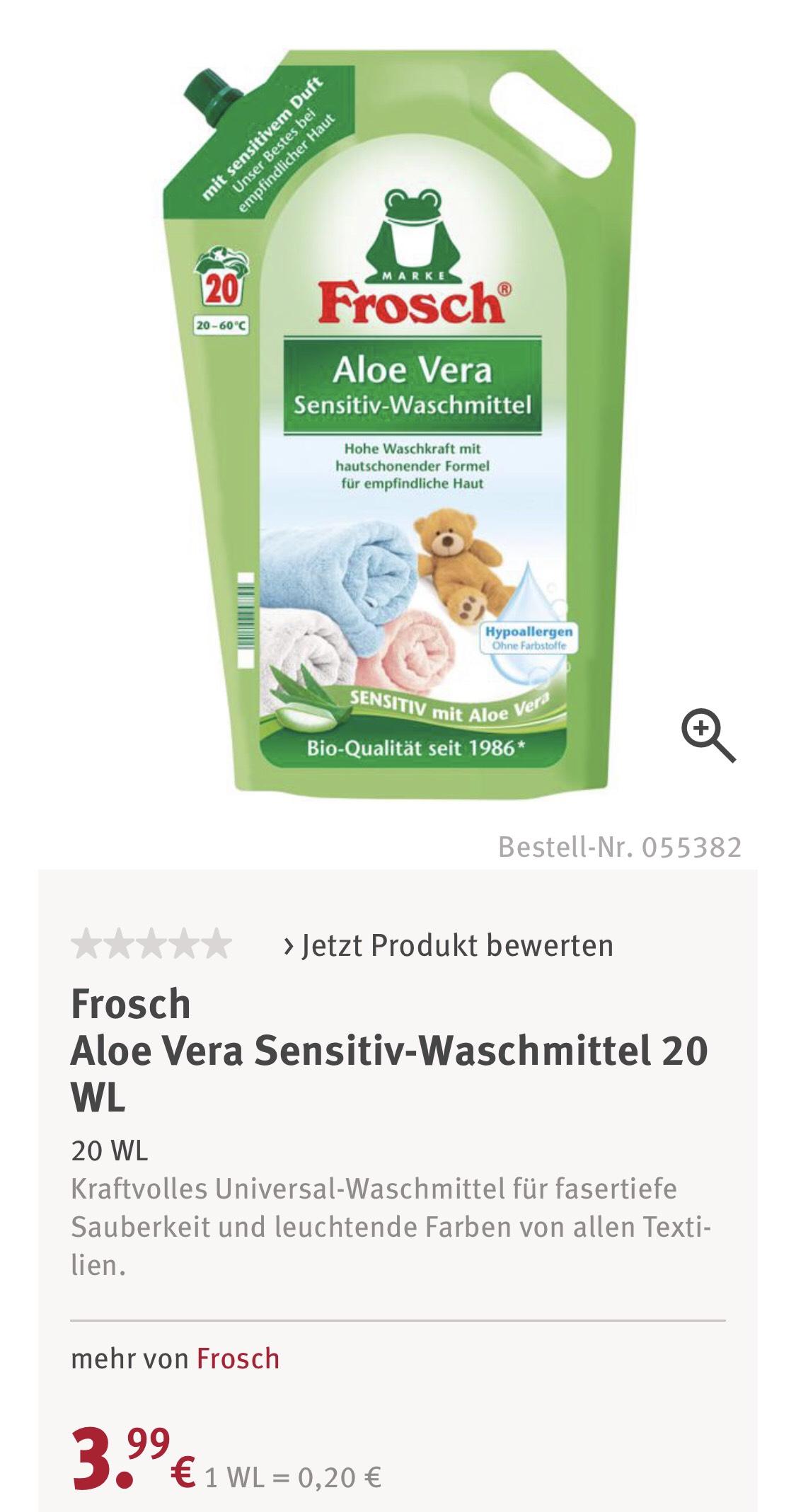 Frosch Waschmittel Aloevera Sensitiv Rossmann Green Label (+Marktguru für effektiv 1,35 Euro)