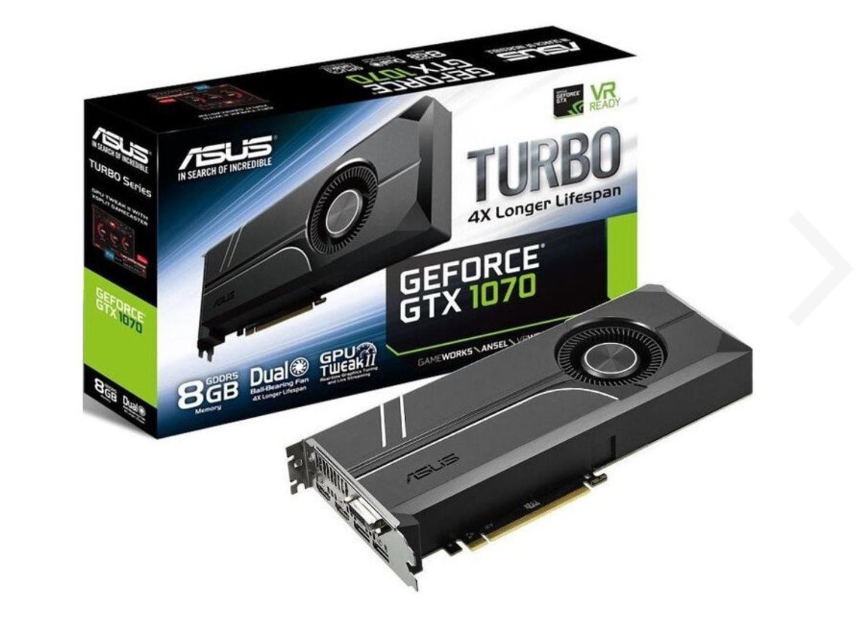 ASUS Turbo GeForce GTX 1070 8GB GDDR5 Grafikkarte - DVI/2x HDMI/2x DisplayPort