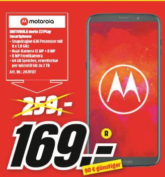 [Regional Mediamarkt Lübeck] MOTOROLA moto z3 play 64 GB Deep Indigo Dual SIM für 169,-€