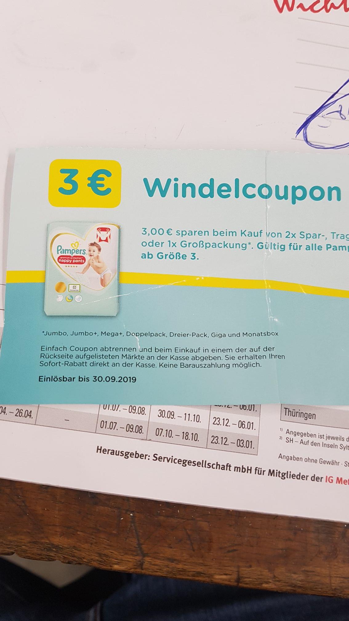 Pampers Windelgutschein 3€ alle Größen