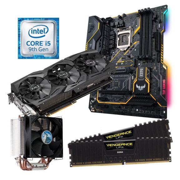 Aufrüstkit für PC: Intel Core i5-9400F + 16GB DDR4 Corsair Vengeance LPX + Radeon RX Vega 56 8GB + ASUS TUF Z370-Plus Gaming II + Alpenföhn