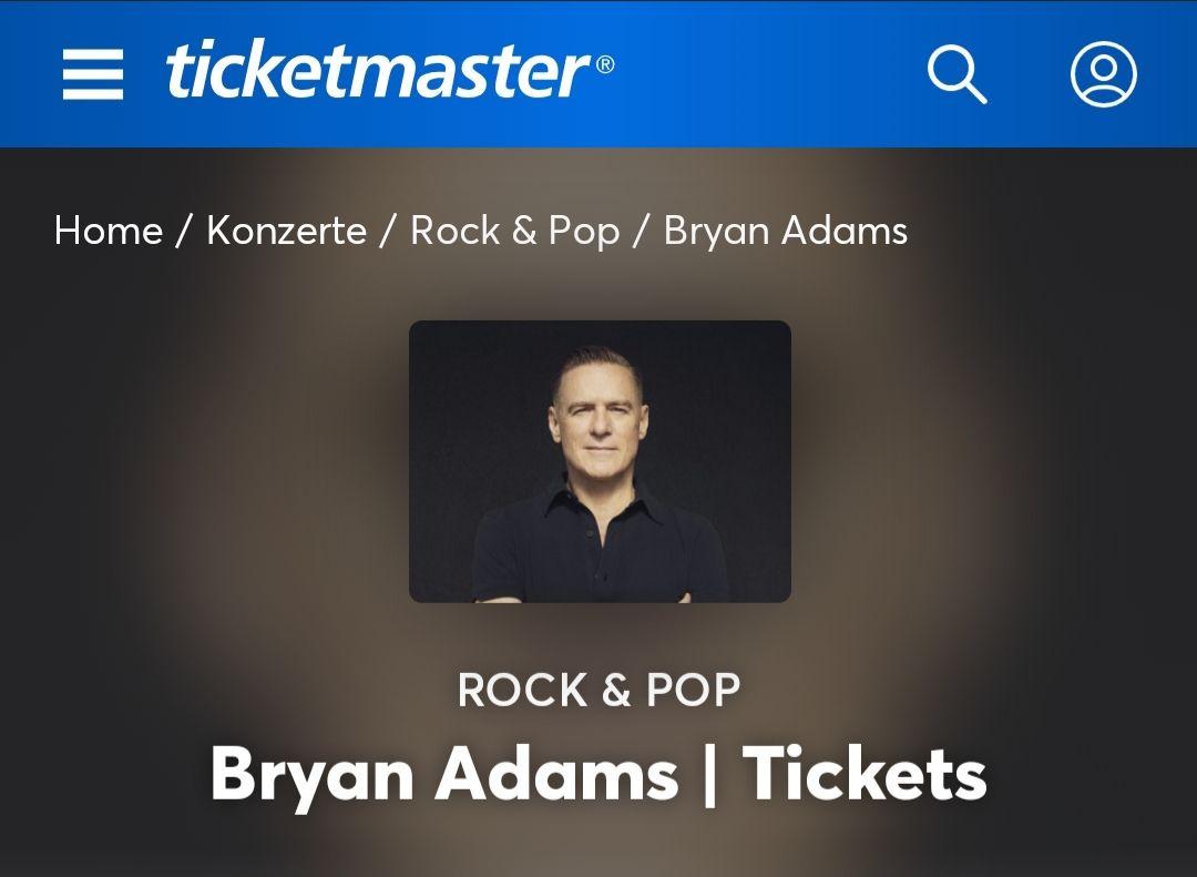 Bryan Adams Tour : 2 Konzertkarten zum Preis von 1 bei ticketmaster.de