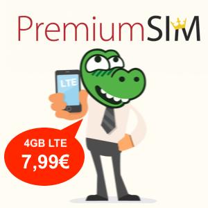 PremiumSIM 4GB LTE Tarif mit Allnet- & SMS-Flat für mtl. 7,99€ (monatlich kündbar oder 24-Monatsvertrag, Telefonica-Netz)