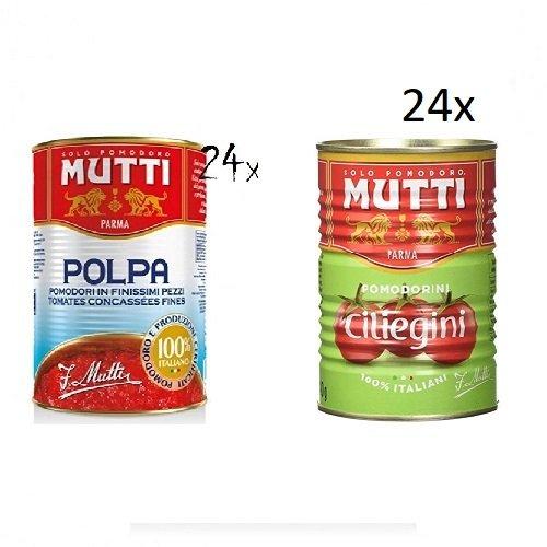 24x Mutti polpa di Pomodoro a 400g + 24x Mutti Pomodorini ciliegini Kirschtomaten a 400g
