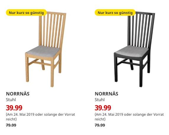 (IKEA Bremerhaven 24.05.) NORRNÄS Stuhl eiche oder schwarz Bezug Isunda grau