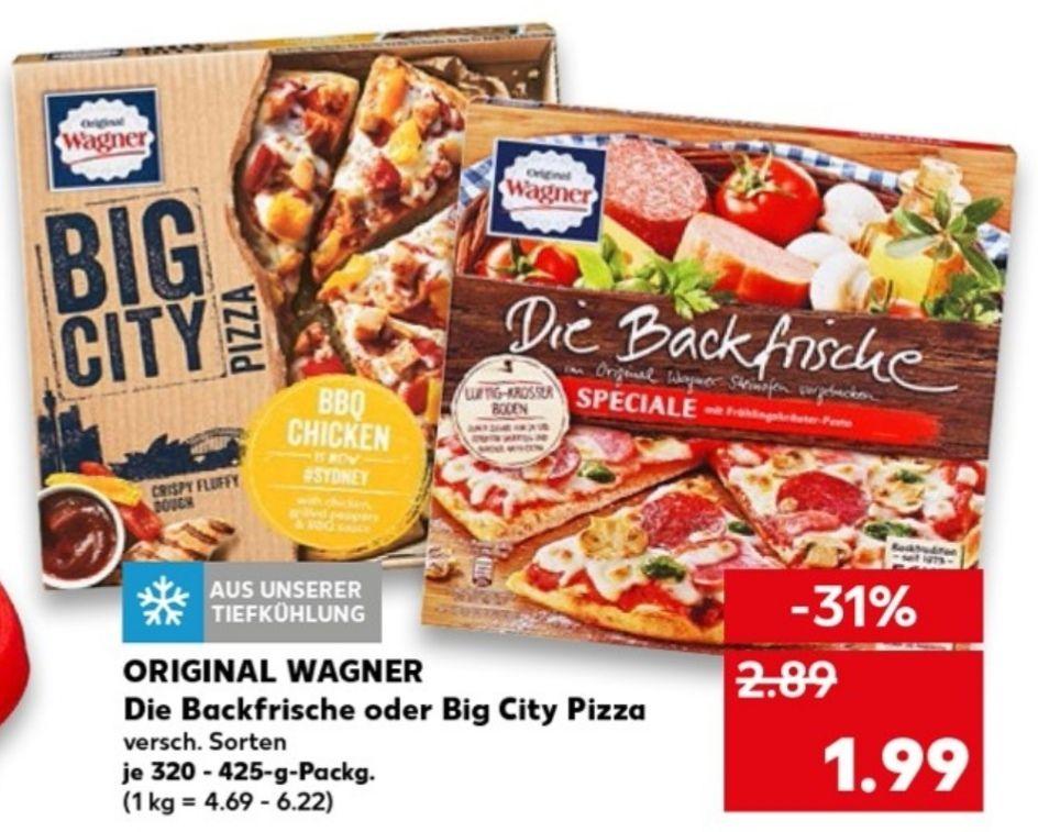 [Kaufland, Rewe center, Penny, tegut] 2 x Original Wagner big city Pizza dank Scondoo und Gutschein