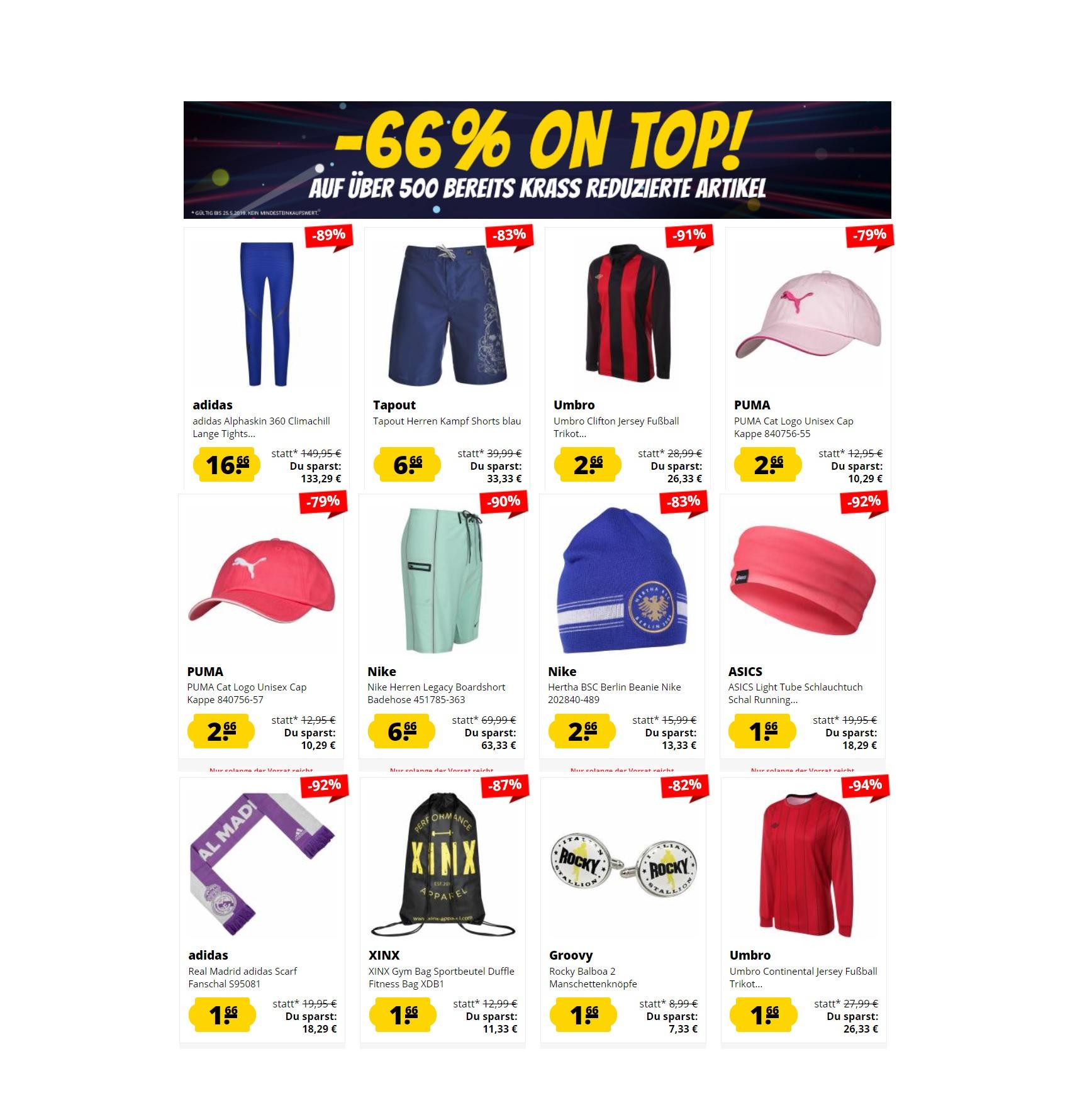 Großer Mega Sale bei SportSpar: 66% Extra-Rabatt auf bereits reduzierte Artikel!