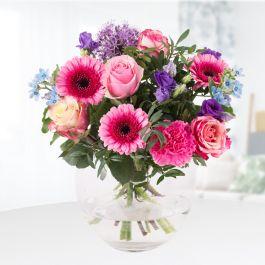 Blumenstrauß 'Maiblumen' mit Rosen, Nelken, Gerbera und Lisianthu inkl. Versand und Grußkarte