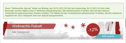 [DaWanda.de] Weihnachts-Rabatt-Special 12 % auf ausgewählte Artikel
