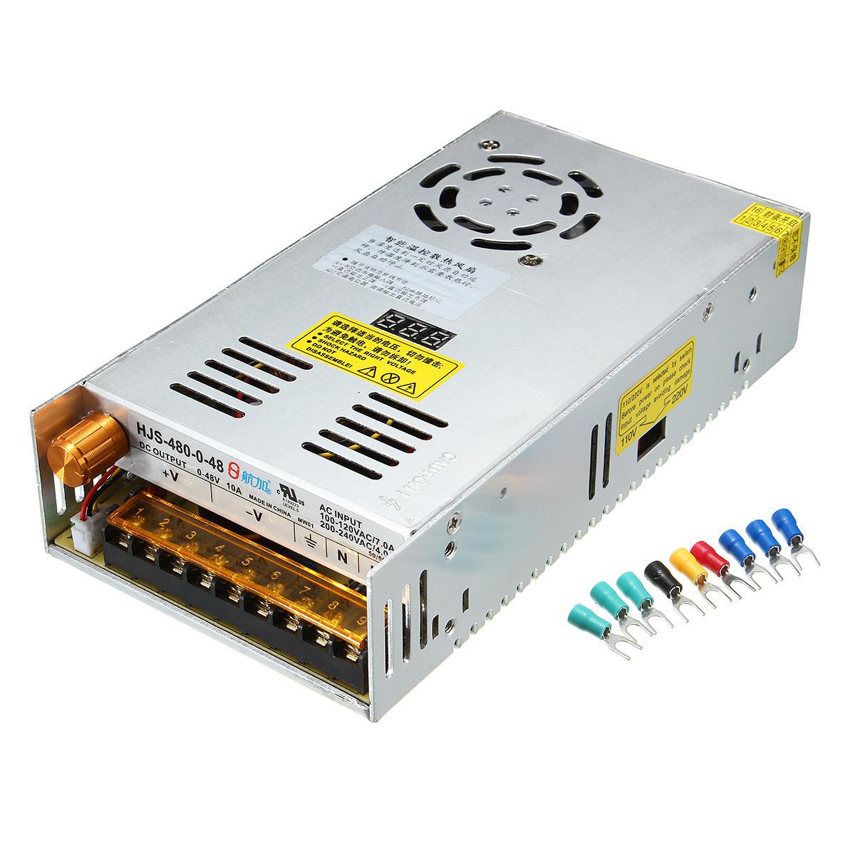Schaltnetzteil Transformator Einstellbar von AC 110 / 220V auf DC 0-48V 10A 480W mit Digitalanzeige