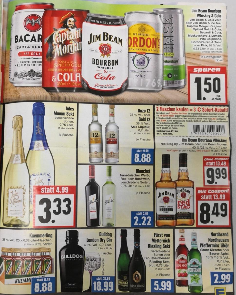 Jim Beam, Captain Cola, Gin Tonic, Vodka Lemon, Bacardi Cola, etc. 0,33l Dosen. Inkl. non Alk zur Vatertagswanderung [Edeka Hessenring]