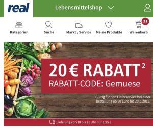 [Real Lebensmittelshop] EUR 20,- Rabatt ab EUR 90,- Warenwert bei Lieferservice