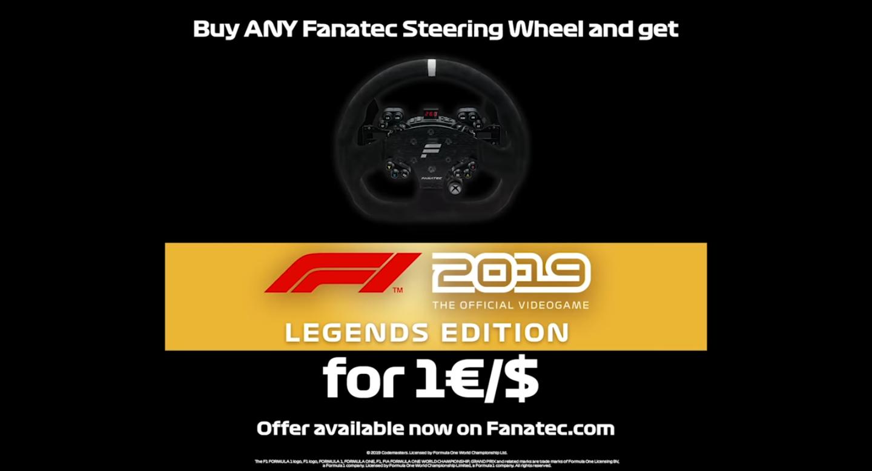 [Fanatec] F1 2019 (PC/PS4) beim Kauf eines Fanatec-Lenkrads für 1 Euro dazu