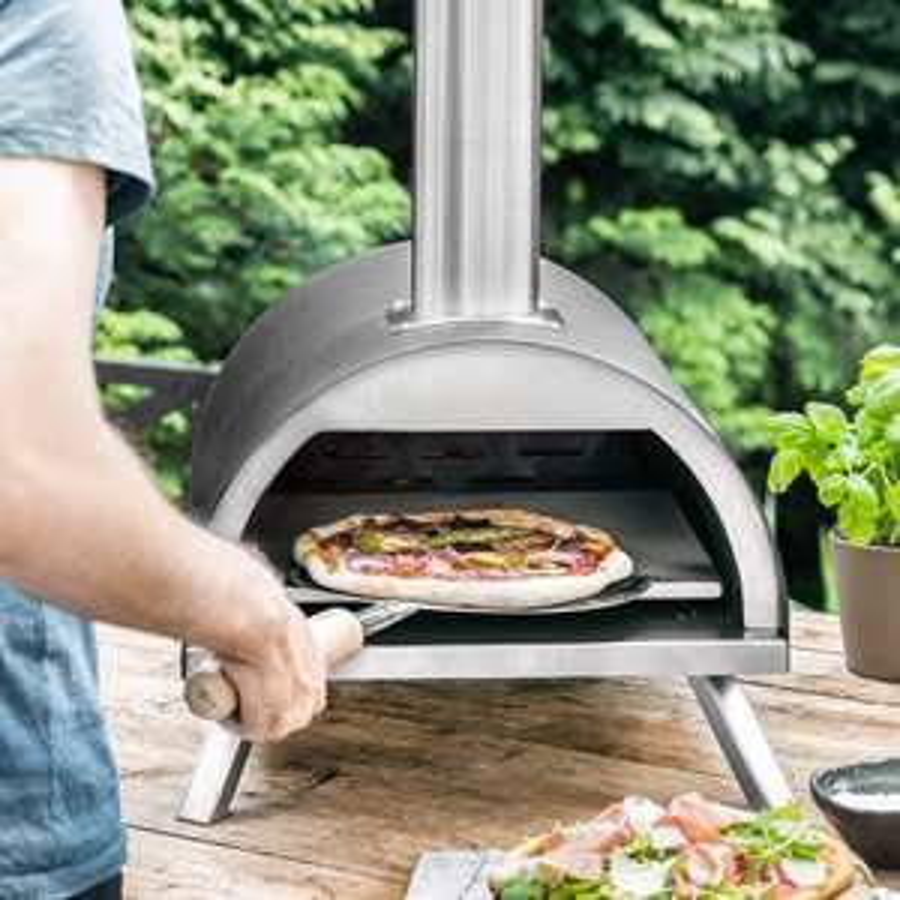 Burnhard Edelstahl Outdoor Pizzaofen Nero inkl. Pizzaschieber & Pizzastein