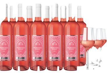 12 Flaschen Montelino Primitivo Rosato  U. WEINGLÄSER, 4ER SET