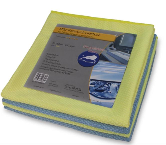 12 Mikrofaser Glastücher für Fenster, Spiegel und Glasflächen - Blau/Gelb