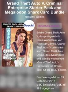 GTA V, Criminal Enterprise Starter Pack UND Megalodon Shark Card Bundle