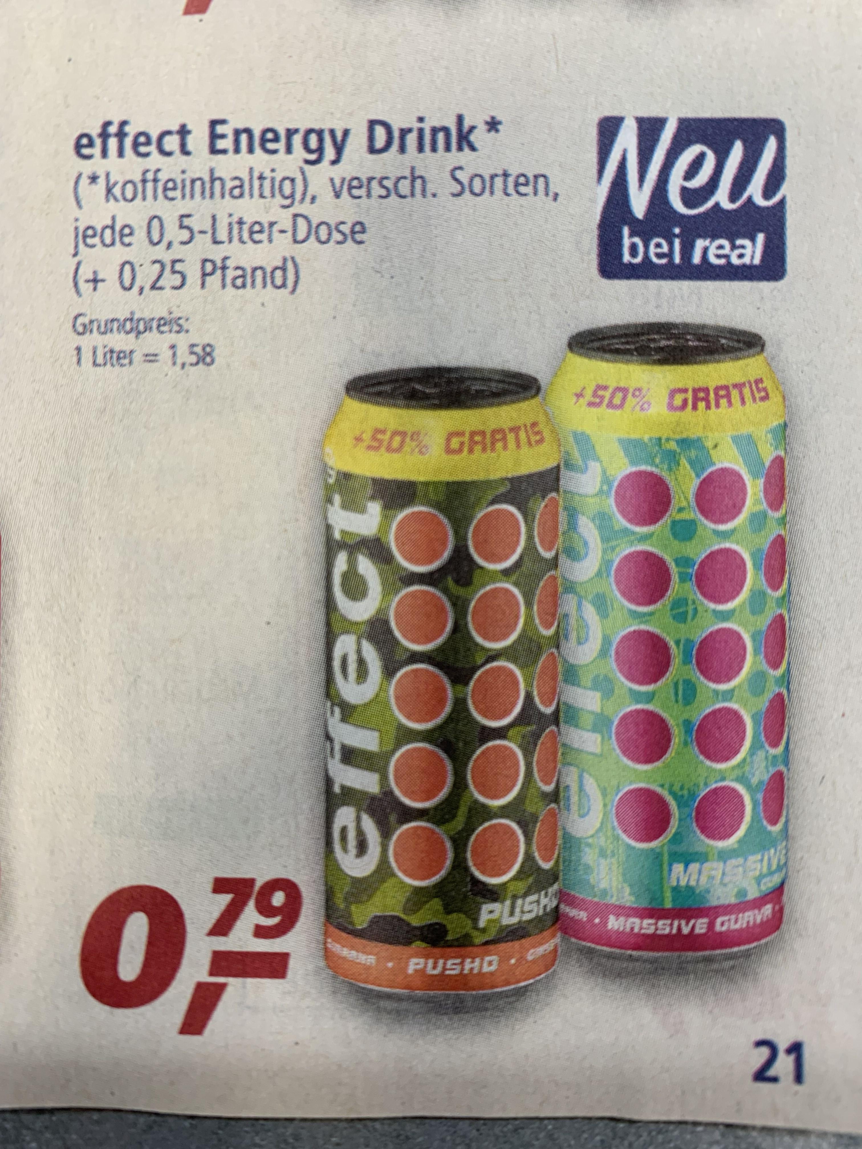 [Real] Effect Energy Drink 500ml Dose verschiedene Sorten für 0,79€ zzgl. 0,25€ Pfand ab Montag 27.05.2019