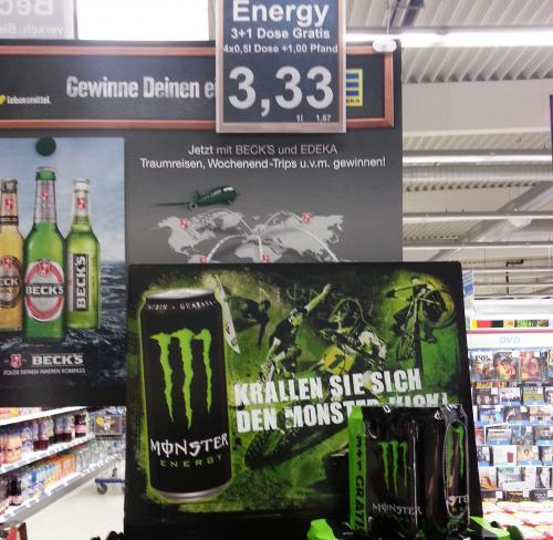 REGIONAL? 4er Pack Monster Energy für 3,33€ + Pfand im E-CENTER in 38527 Meine
