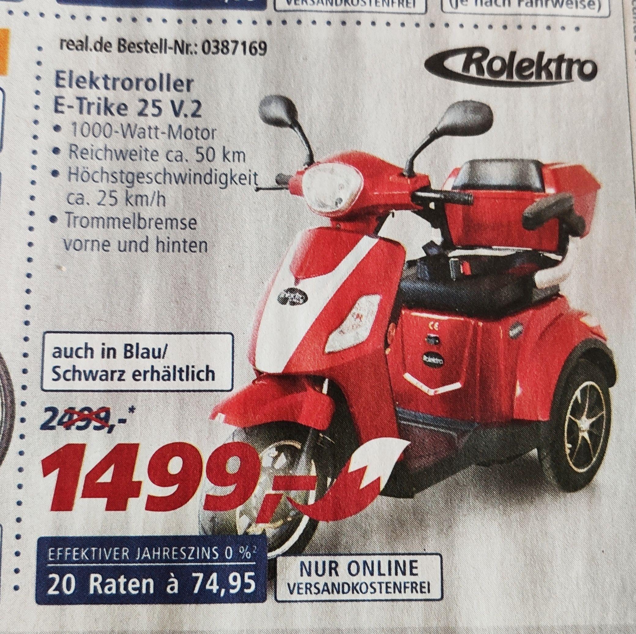 Rolektro E-Trike 25 V.2rot  bei Real ohne Versandkosten