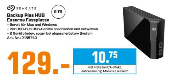 [Regional Saturn Berlin-Alle 13 Filialen ab 27.05] SEAGATE Backup Plus HUB, 8 TB, 3.5 Zoll, Festplatte, Schwarz für 129,-€