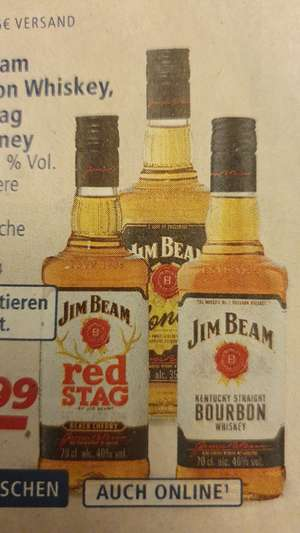 [REAL] Jim Beam Bourbon Whiskey, Red Stag, Honey ab 3 Flaschen
