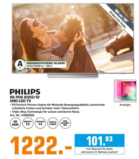 """[Regional Saturn Berlin-Alle 13 Filialen ab 27.05] Philips 65PUS8303 65"""" 4K UHD TV (120Hz, 10bit, HDR, Triple Tuner) für 1222,-€"""