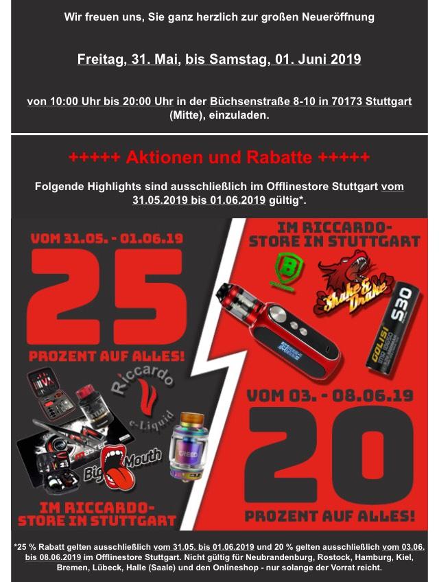 Riccardo Lokal Stuttgart 25% bzw 20% auf alles Online 15%