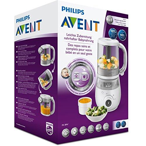 Philips Avent 4-in-1-Babynahrungszubereiter SCF883/01, Dampfgaren und Mixen, 4 Mahlzeiten